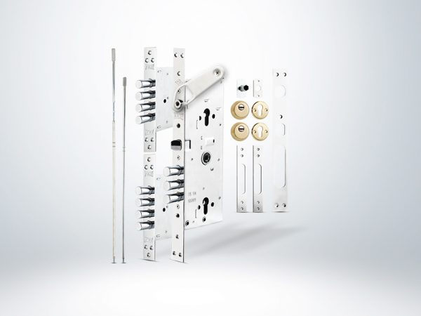 Kale Multisistem Merkezi Çelik Kapı Kilidi Gizli Emniyet Kelepçeli BNE+GMC Sarı Rozetsiz - 63mm