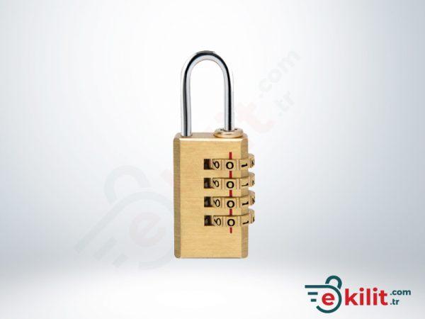 Kale Şifreli Asma Kilit - 4 Basamaklı Şifreleme - Pirinç - KD001/21-100