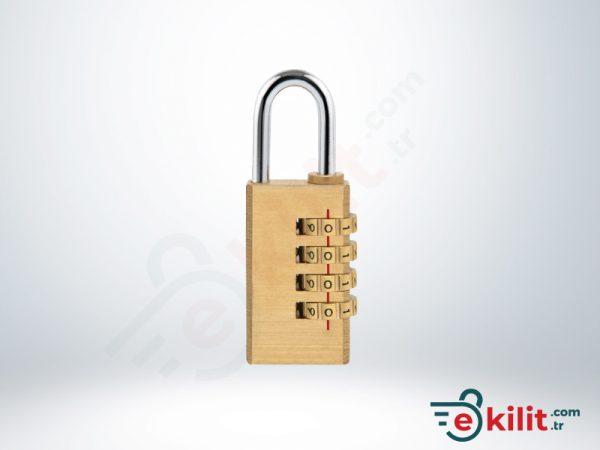 Kale Şifreli Asma Kilit - 4 Basamaklı Şifreleme - Pirinç - KD001/21-200