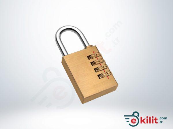Kale Şifreli Asma Kilit - 4 Basamaklı Şifreleme - Pirinç - KD001/21-300