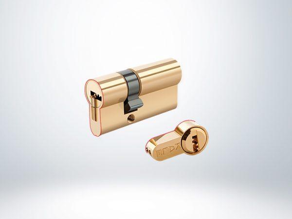 Kale Tuzaklı Sistem Çelik Pimli Mandal Topuzlu Silindir - Sarı -68mm