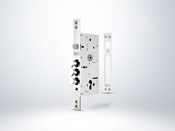 Kale Monoblok Döner Sürgülü Çelik Kapı Kilidi - KROM (SN Sarı Silindirli) - 60mm