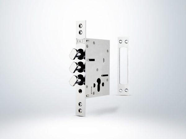 Kale Döner Sürgülü Çelik Kapı Emniyet Kilidi - KROM (GM Saten Silindirli) - 60mm