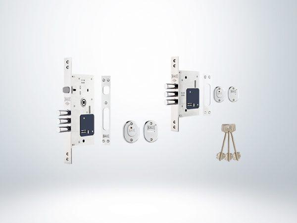 Kale Fişeli Çelik Kapı Kilidi Birbiriniaçar SET (252RL+257L) - Krom - 60mm