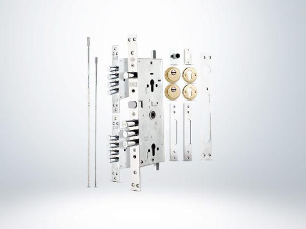 Kale Multisistem Merkezi Çelik Kapı Kilidi - KROM ( BNE+GMC Saten Silindirli) Rozetsiz - 63mm